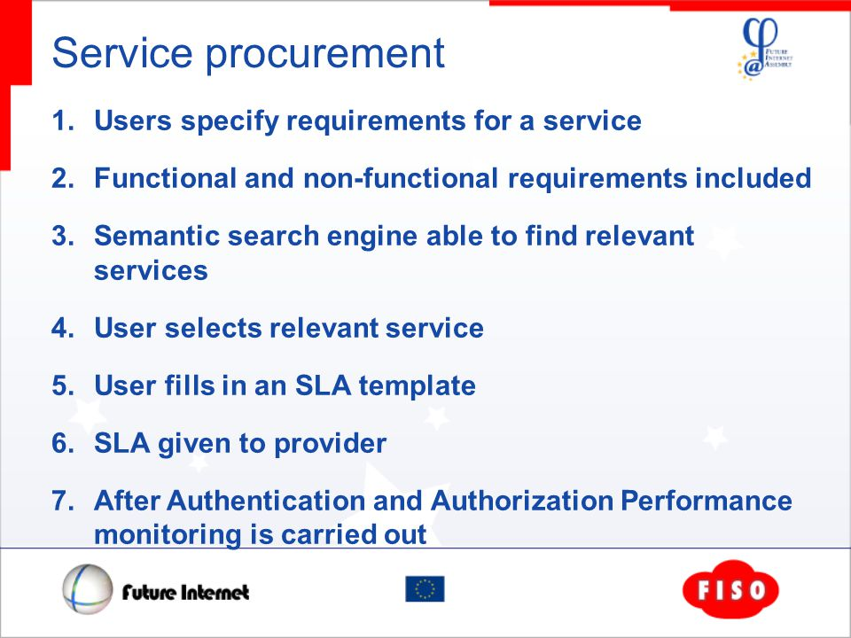 Service procurement 1. Users specify requirements for a service 2.
