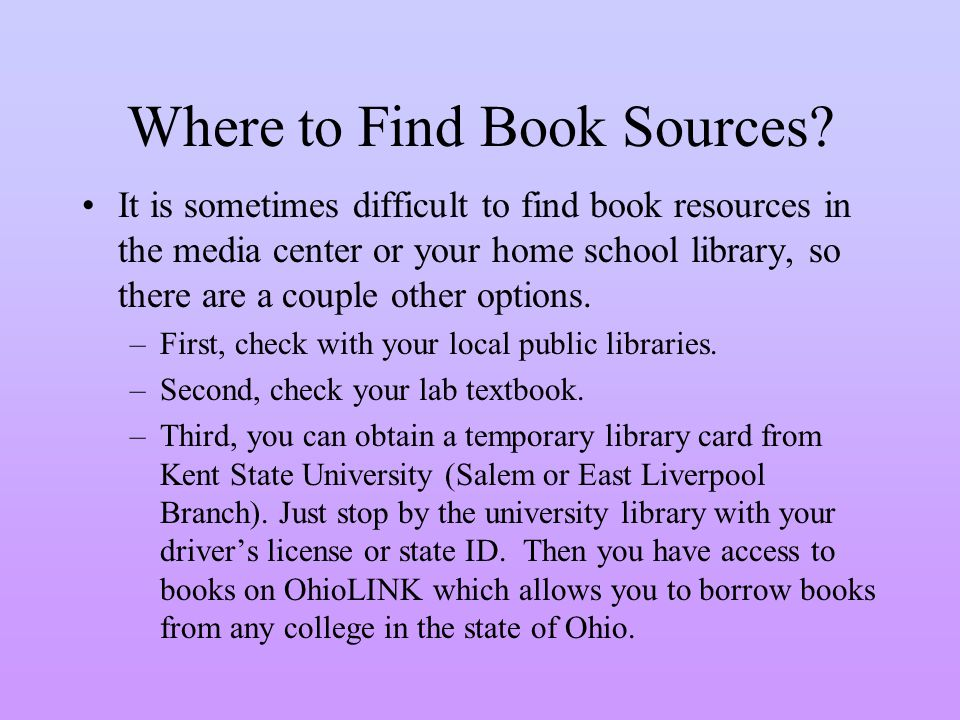 Where to Find Book Sources.
