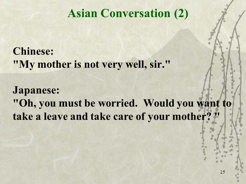 25 Chinese: My mother is not very well, sir. Japanese: Oh, you must be worried.