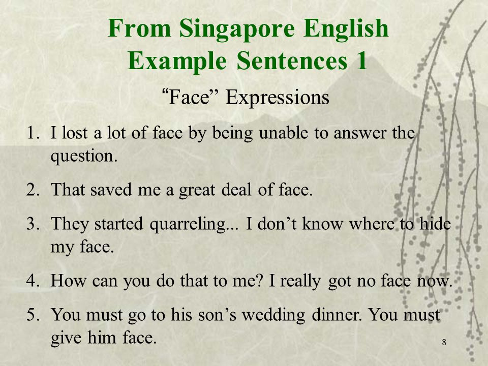 8 From Singapore English Example Sentences 1 Face Expressions 1.I lost a lot of face by being unable to answer the question.