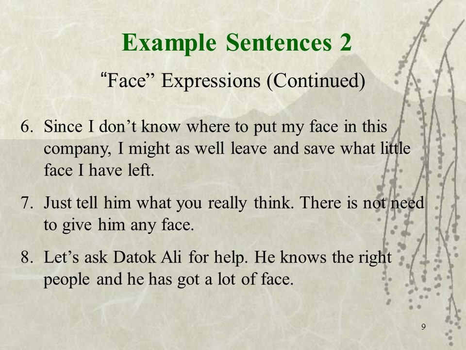 Example Sentences 2 Face Expressions (Continued) 6.Since I dont know where to put my face in this company, I might as well leave and save what little face I have left.