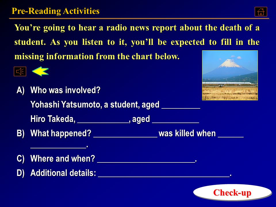 Pre-Reading Activities Pre-Reading Activities Pre-Reading Activities Pre-Reading Activities Text A: Language Points Text A: Language PointsText A: Language PointsText A: Language Points Exercises ExercisesExercises Assignment AssignmentAssignment Unit 6 Part A Every 23 Minutes