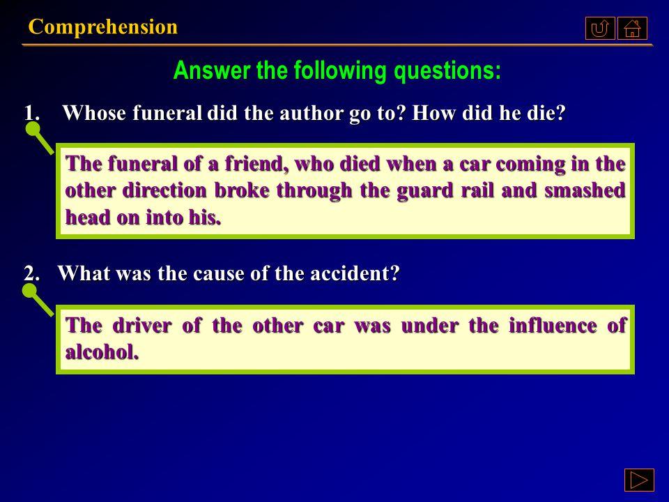 Comprehension Ex. II, p. 170 III : Ex. II, p. 170