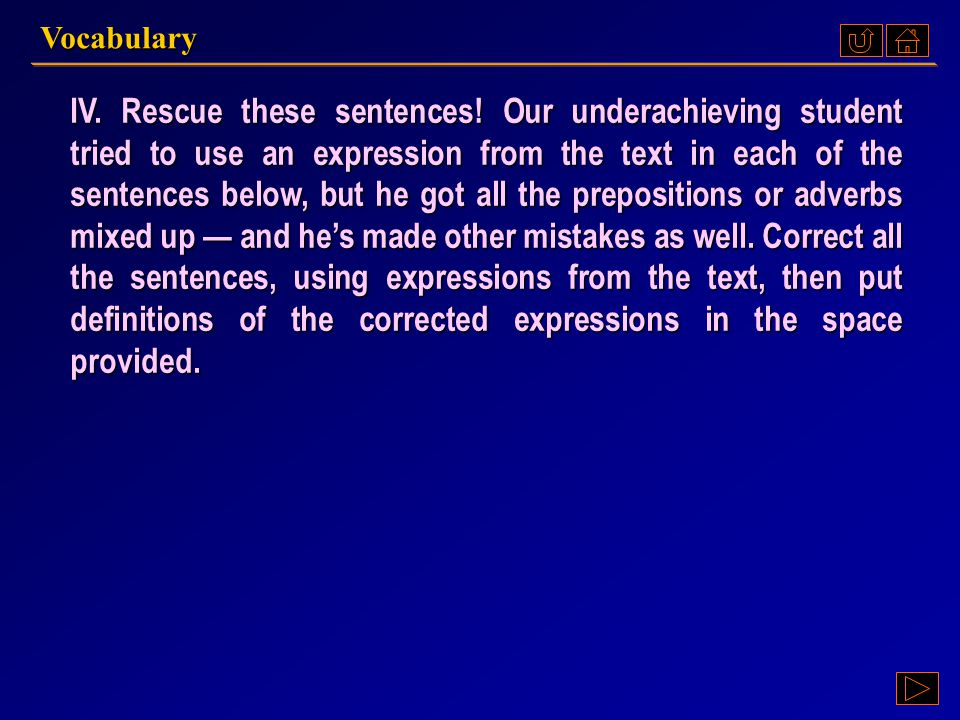 Ex. IV, p. 171 III : Ex. IV, p. 171 Vocabulary