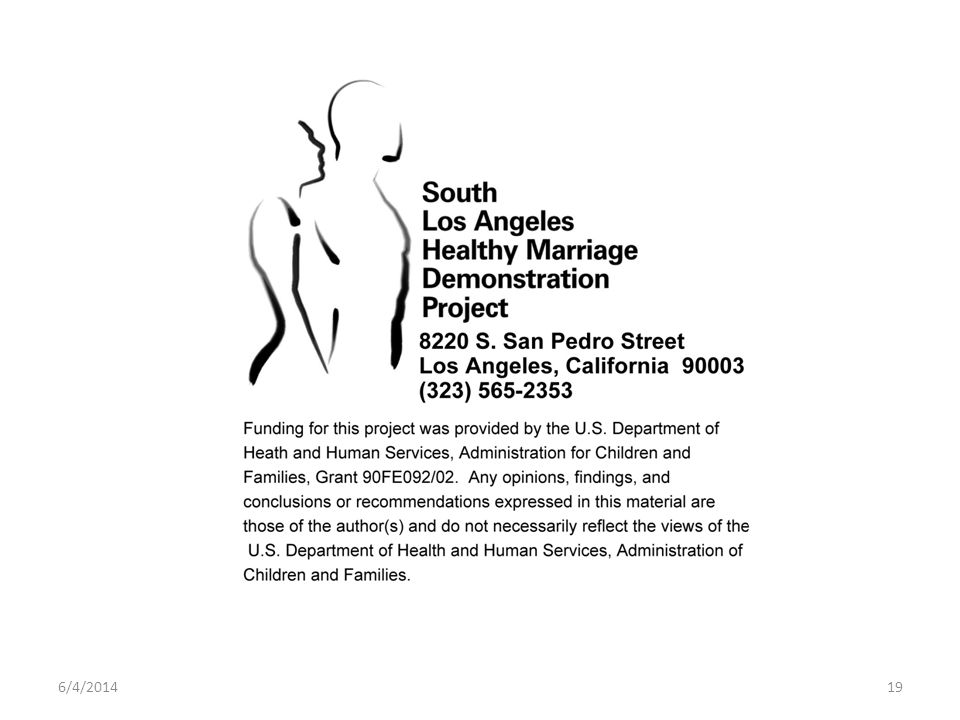 6/4/2014 South Los Angeles Healthy Marriage Demonstration Project in cooperation with the National Alliance of Faith and Justice 19