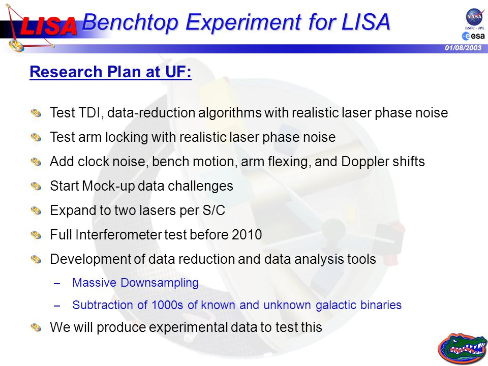 01/08/2003 Benchtop Experiment for LISA Research Plan at UF: Test TDI, data-reduction algorithms with realistic laser phase noise Test arm locking with realistic laser phase noise Add clock noise, bench motion, arm flexing, and Doppler shifts Start Mock-up data challenges Expand to two lasers per S/C Full Interferometer test before 2010 Development of data reduction and data analysis tools – Massive Downsampling – Subtraction of 1000s of known and unknown galactic binaries We will produce experimental data to test this