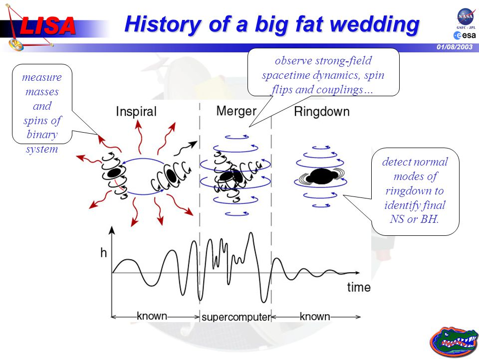01/08/2003 History of a big fat wedding measure masses and spins of binary system detect normal modes of ringdown to identify final NS or BH.