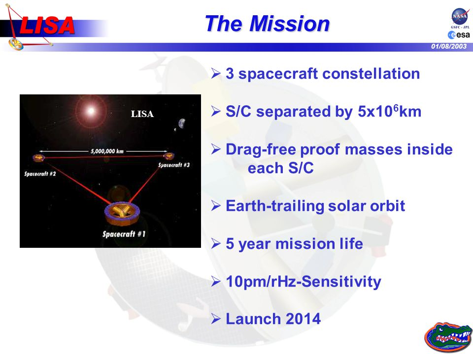 01/08/2003 The Mission 3 spacecraft constellation S/C separated by 5x10 6 km Drag-free proof masses inside each S/C Earth-trailing solar orbit 5 year
