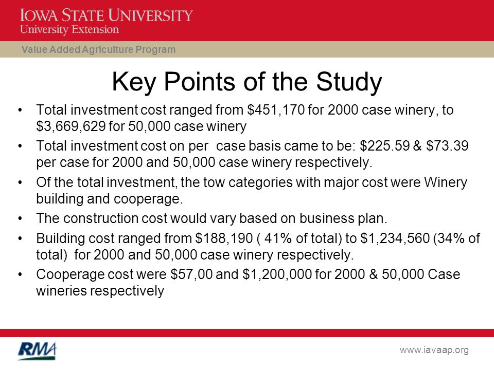 Value Added Agriculture Program www.iavaap.org Key Points of the Study Total investment cost ranged from $451,170 for 2000 case winery, to $3,669,629 for 50,000 case winery Total investment cost on per case basis came to be: $225.59 & $73.39 per case for 2000 and 50,000 case winery respectively.