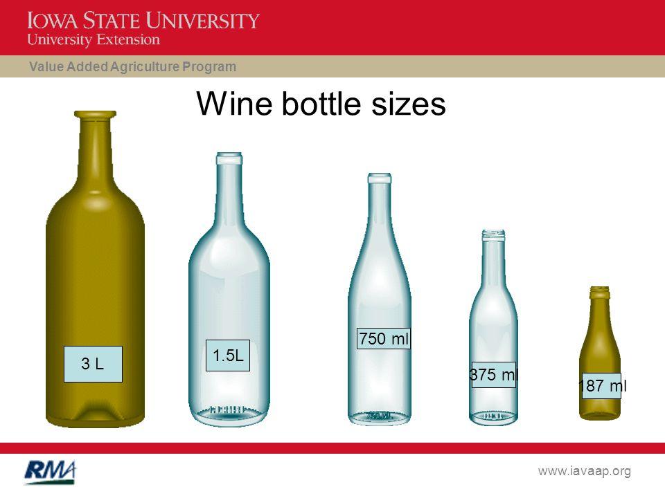 Value Added Agriculture Program www.iavaap.org Wine bottle sizes 3 L 1.5L 750 ml 375 ml 187 ml