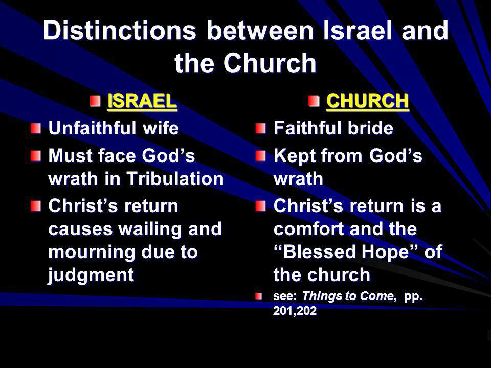 Distinctions between Israel and the Church ISRAEL Unfaithful wife Must face Gods wrath in Tribulation Christs return causes wailing and mourning due t