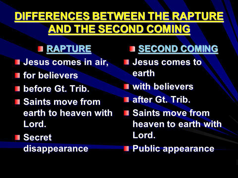 DIFFERENCES BETWEEN THE RAPTURE AND THE SECOND COMING RAPTURE Jesus comes in air, for believers before Gt. Trib. Saints move from earth to heaven with
