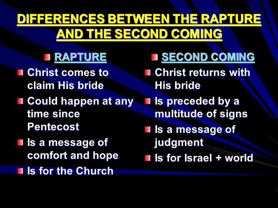 DIFFERENCES BETWEEN THE RAPTURE AND THE SECOND COMING RAPTURE Christ comes to claim His bride Could happen at any time since Pentecost Is a message of