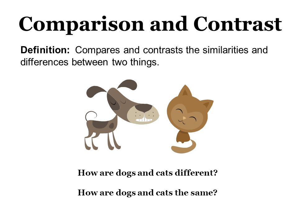 How are dogs and cats different? How are dogs and cats the same? Definition: Compares and contrasts the similarities and differences between two thing