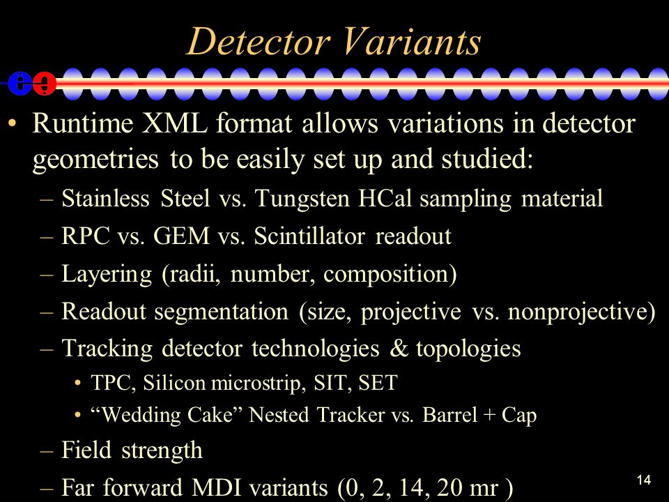 14 Detector Variants Runtime XML format allows variations in detector geometries to be easily set up and studied: –Stainless Steel vs.