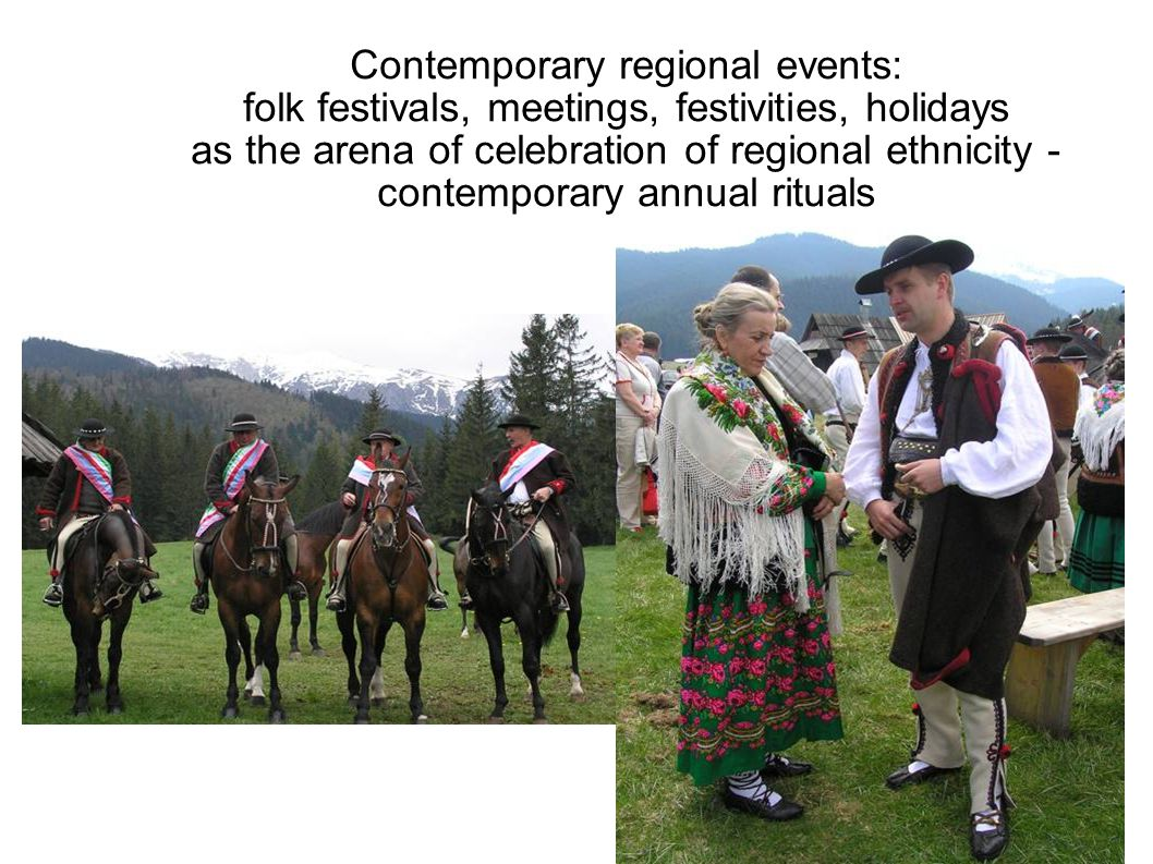 Contemporary regional events: folk festivals, meetings, festivities, holidays as the arena of celebration of regional ethnicity - contemporary annual rituals