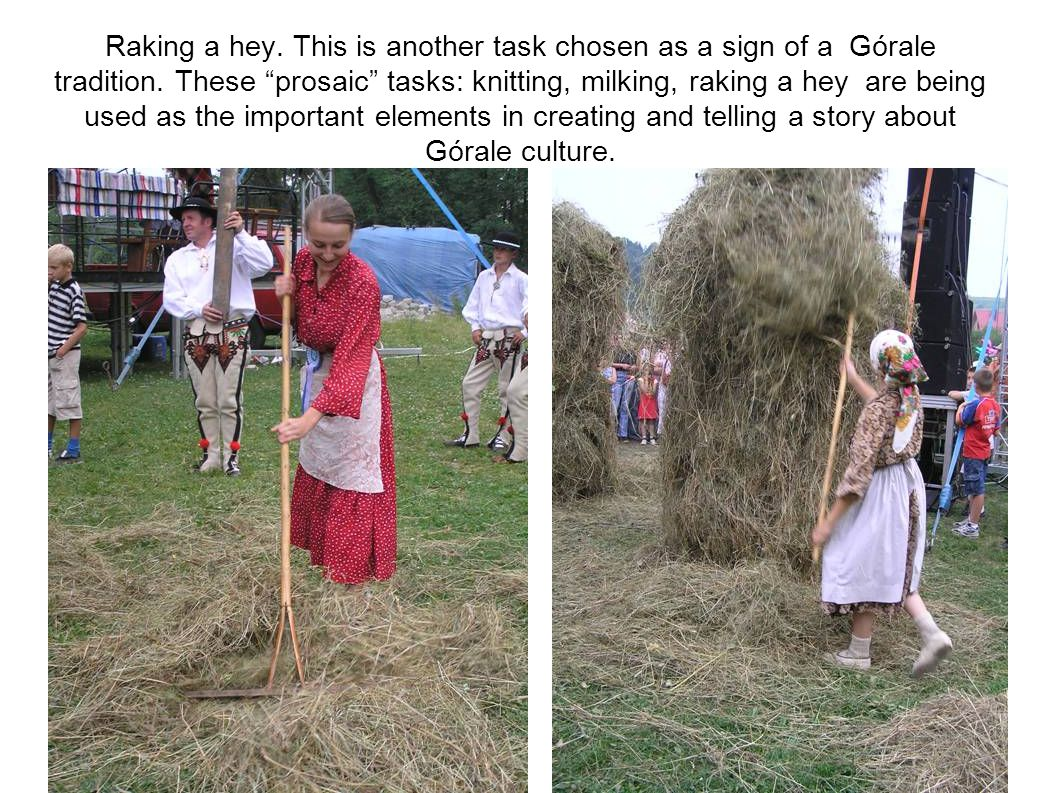 Raking a hey. This is another task chosen as a sign of a Górale tradition.