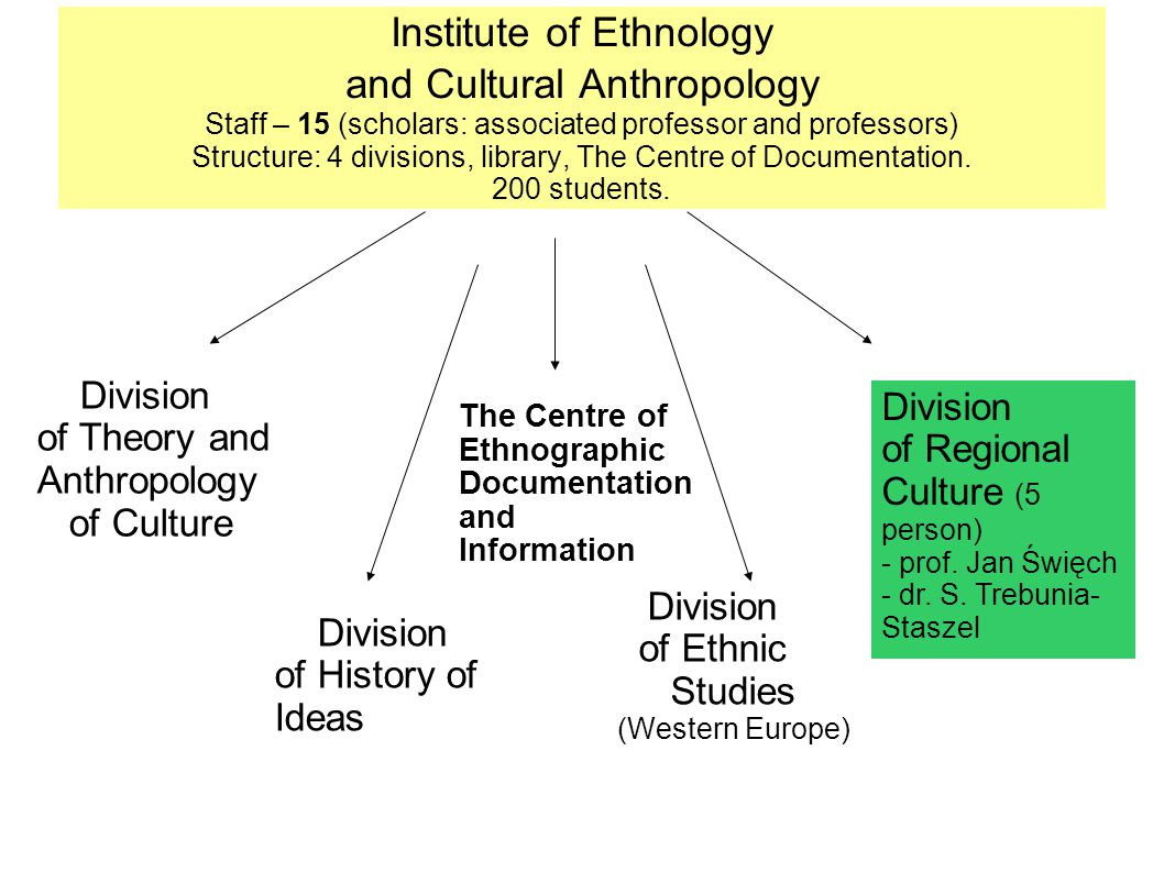 Institute of Ethnology and Cultural Anthropology Staff – 15 (scholars: associated professor and professors) Structure: 4 divisions, library, The Centre of Documentation.