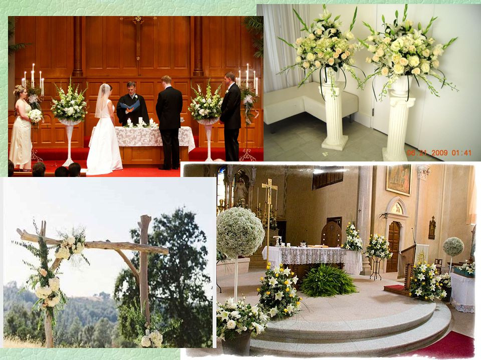 §Pew decorations are bows, flowers or floral designs attached to the end of pews.