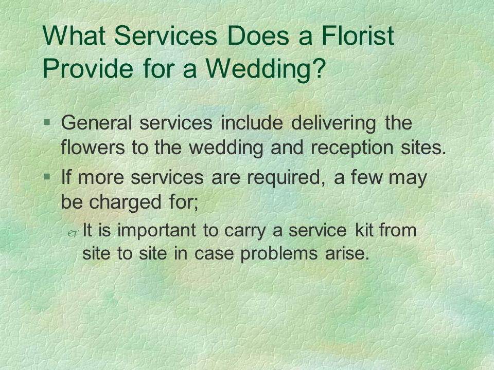 What Services Does a Florist Provide for a Wedding.