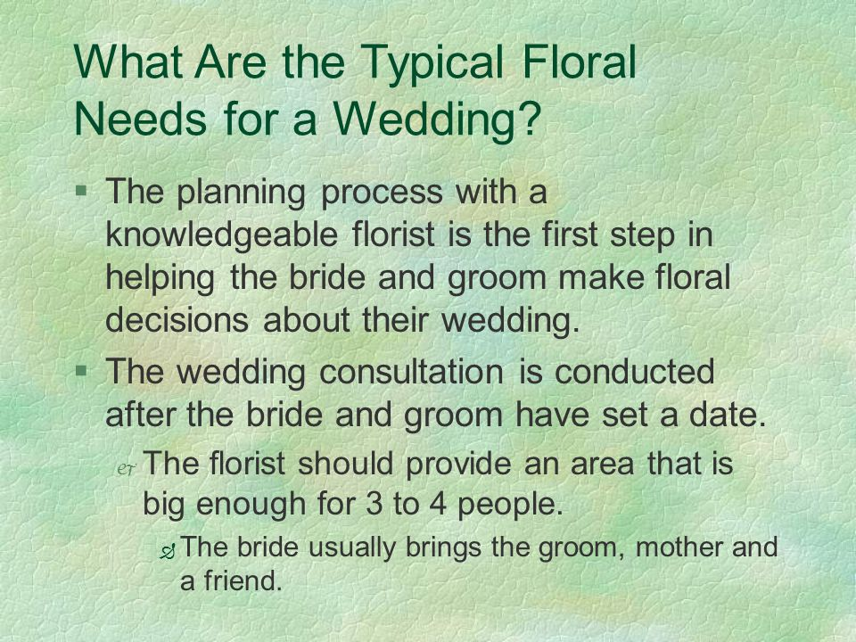 What Are the Typical Floral Needs for a Wedding.