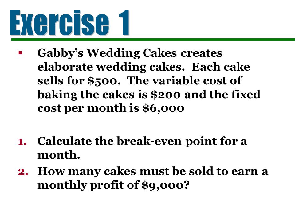 Gabbys Wedding Cakes creates elaborate wedding cakes. Each cake sells for $500. The variable cost of baking the cakes is $200 and the fixed cost per m