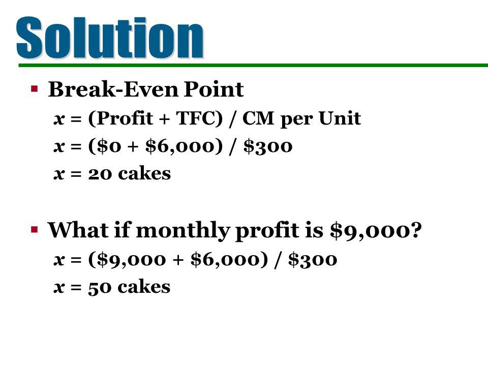 Break-Even Point x = (Profit + TFC) / CM per Unit x = ($0 + $6,000) / $300 x = 20 cakes What if monthly profit is $9,000? x = ($9,000 + $6,000) / $300