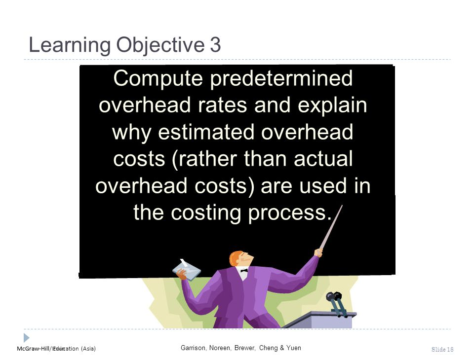 McGraw-Hill Education (Asia) Garrison, Noreen, Brewer, Cheng & Yuen McGraw-Hill/Irwin Slide 18 Learning Objective 3 Compute predetermined overhead rat
