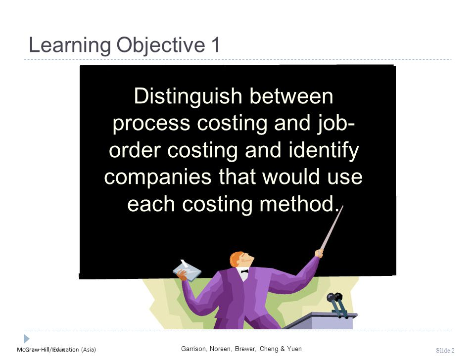 McGraw-Hill Education (Asia) Garrison, Noreen, Brewer, Cheng & Yuen McGraw-Hill/Irwin Slide 2 Learning Objective 1 Distinguish between process costing
