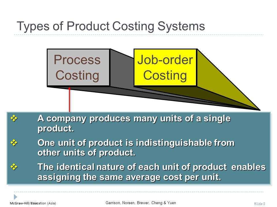 McGraw-Hill Education (Asia) Garrison, Noreen, Brewer, Cheng & Yuen McGraw-Hill/Irwin Slide 3 Types of Product Costing Systems Process Costing Job-ord