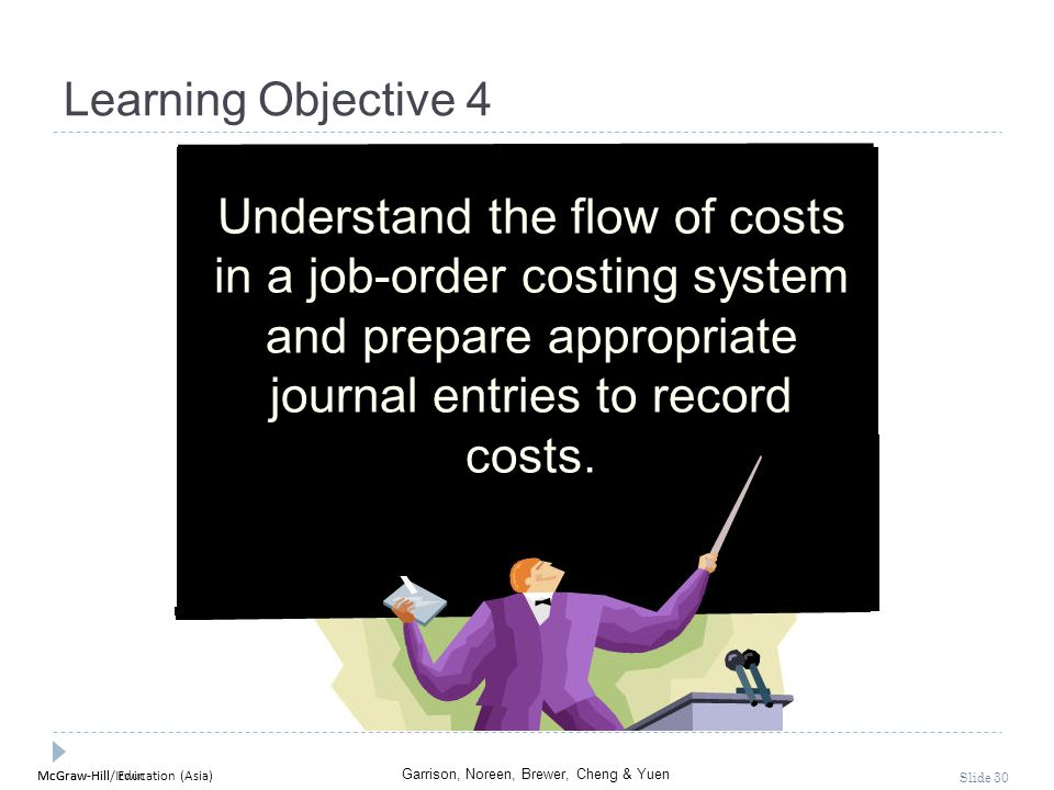 McGraw-Hill Education (Asia) Garrison, Noreen, Brewer, Cheng & Yuen McGraw-Hill/Irwin Slide 30 Learning Objective 4 Understand the flow of costs in a