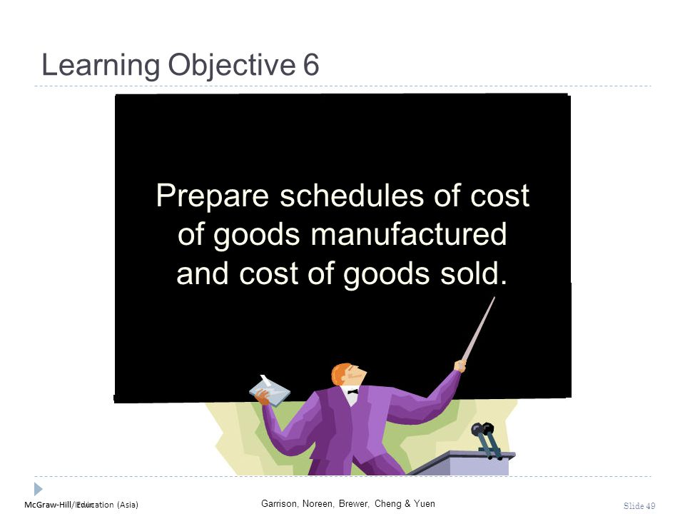 McGraw-Hill Education (Asia) Garrison, Noreen, Brewer, Cheng & Yuen McGraw-Hill/Irwin Slide 49 Learning Objective 6 Prepare schedules of cost of goods