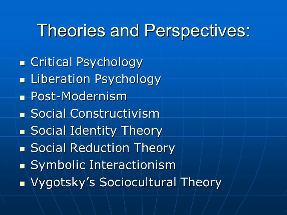 Theories and Perspectives: Critical Psychology Critical Psychology Liberation Psychology Liberation Psychology Post-Modernism Post-Modernism Social Co