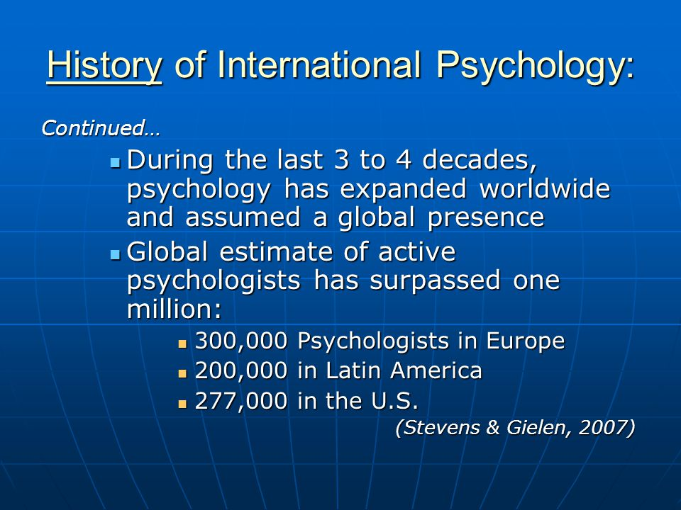References: Gielen, U.P. (Ed.). (in press). Conversations with international psychologists.