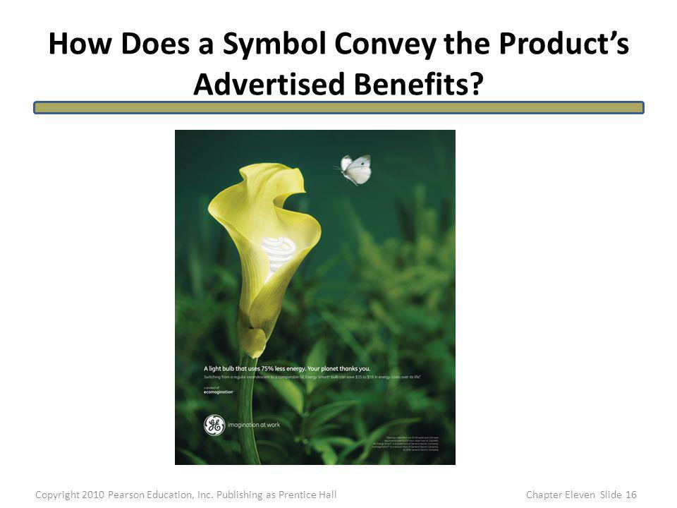 How Does a Symbol Convey the Products Advertised Benefits? 16Copyright 2010 Pearson Education, Inc. Publishing as Prentice HallChapter Eleven Slide
