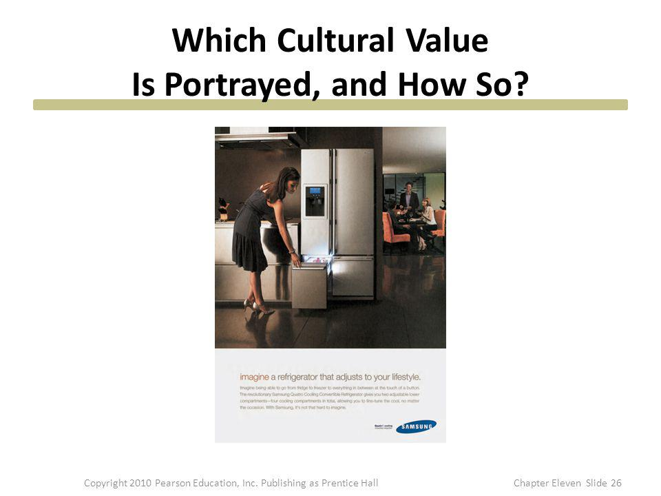 Which Cultural Value Is Portrayed, and How So? 26Copyright 2010 Pearson Education, Inc. Publishing as Prentice HallChapter Eleven Slide