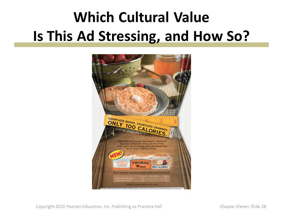 Which Cultural Value Is This Ad Stressing, and How So? 28Copyright 2010 Pearson Education, Inc. Publishing as Prentice HallChapter Eleven Slide