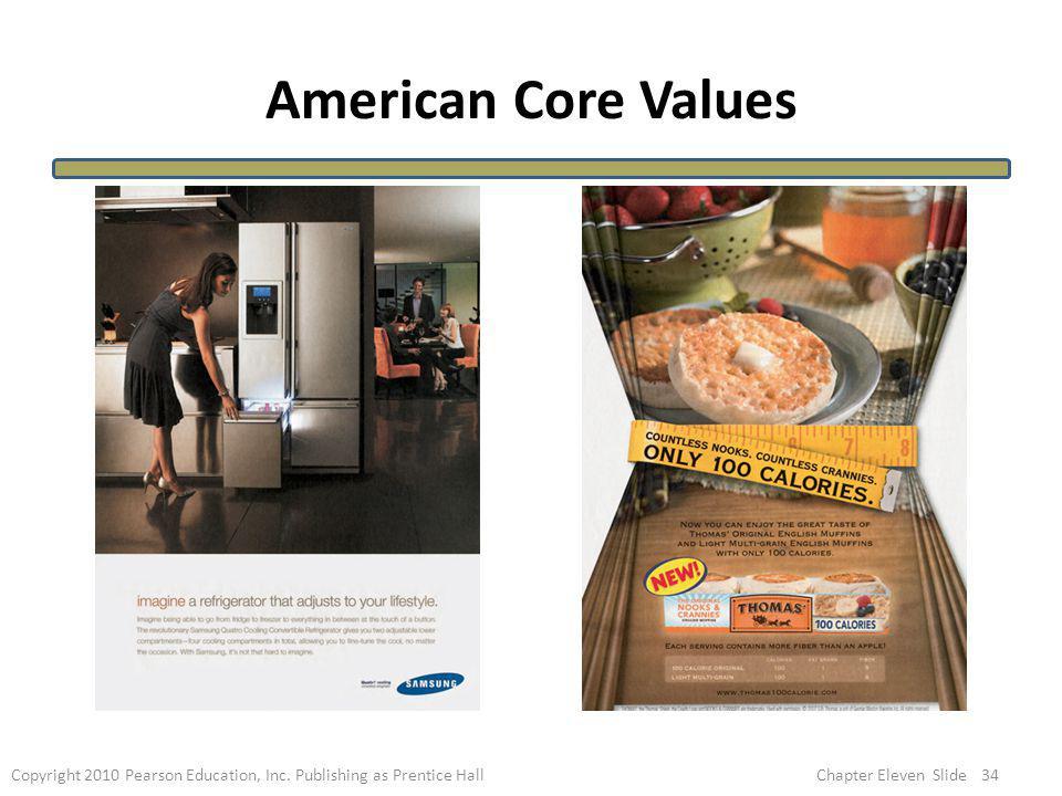American Core Values 34Copyright 2010 Pearson Education, Inc. Publishing as Prentice HallChapter Eleven Slide