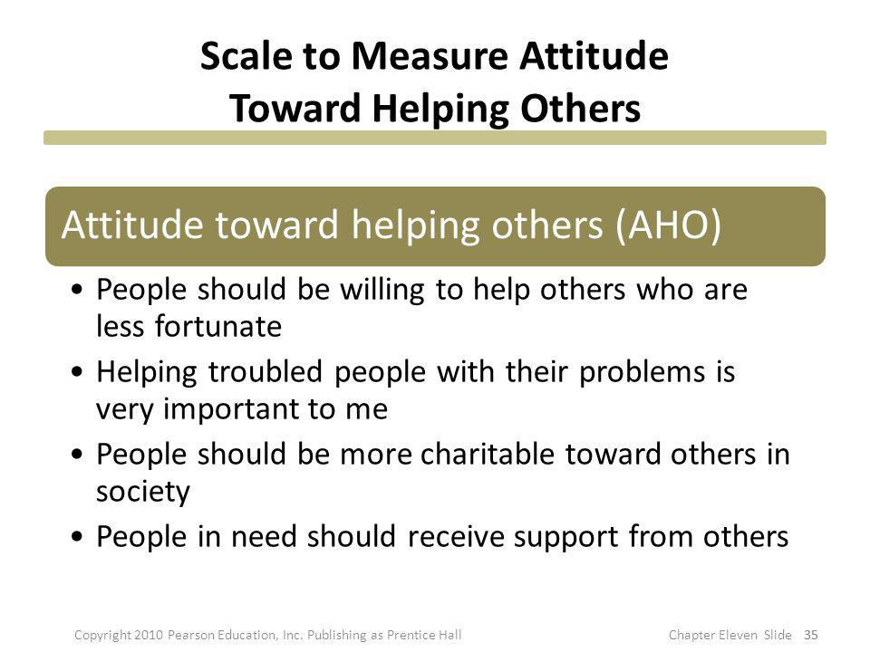Scale to Measure Attitude Toward Helping Others Attitude toward helping others (AHO) People should be willing to help others who are less fortunate He