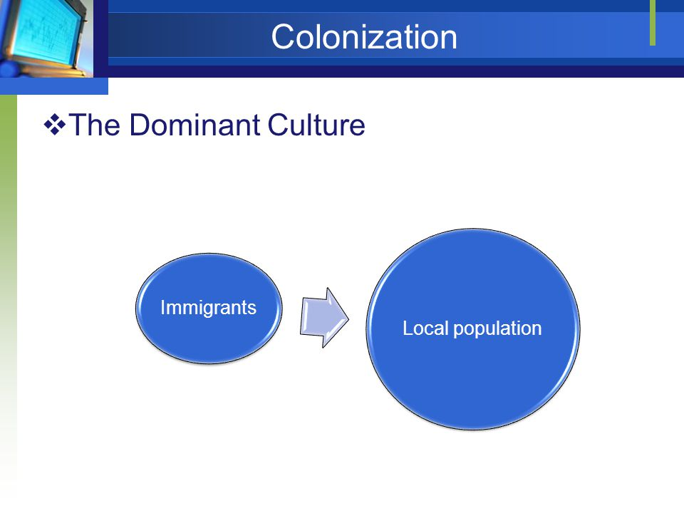 Colonization The Dominant Culture Immigrants Local population
