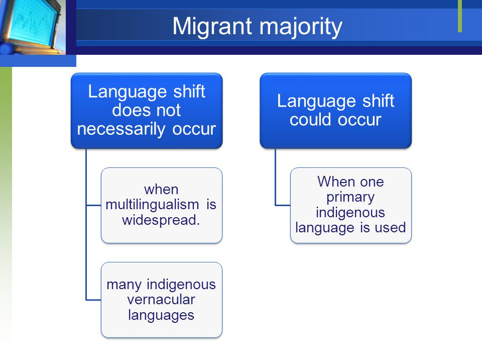 Migrant majority Language shift does not necessarily occur when multilingualism is widespread.