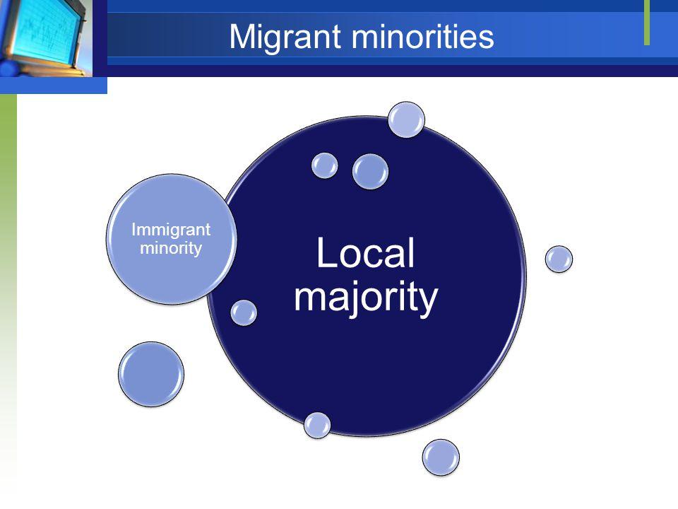 Migrant minorities Local majority Immigrant minority