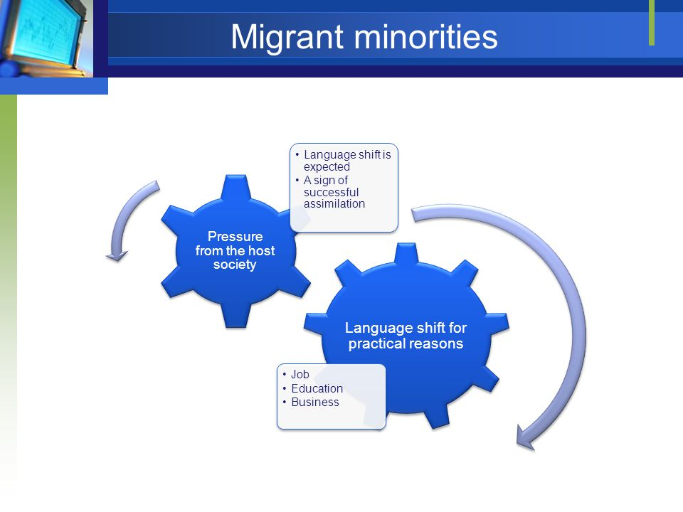 Migrant minorities Language shift for practical reasons Job Education Business Pressure from the host society Language shift is expected A sign of successful assimilation