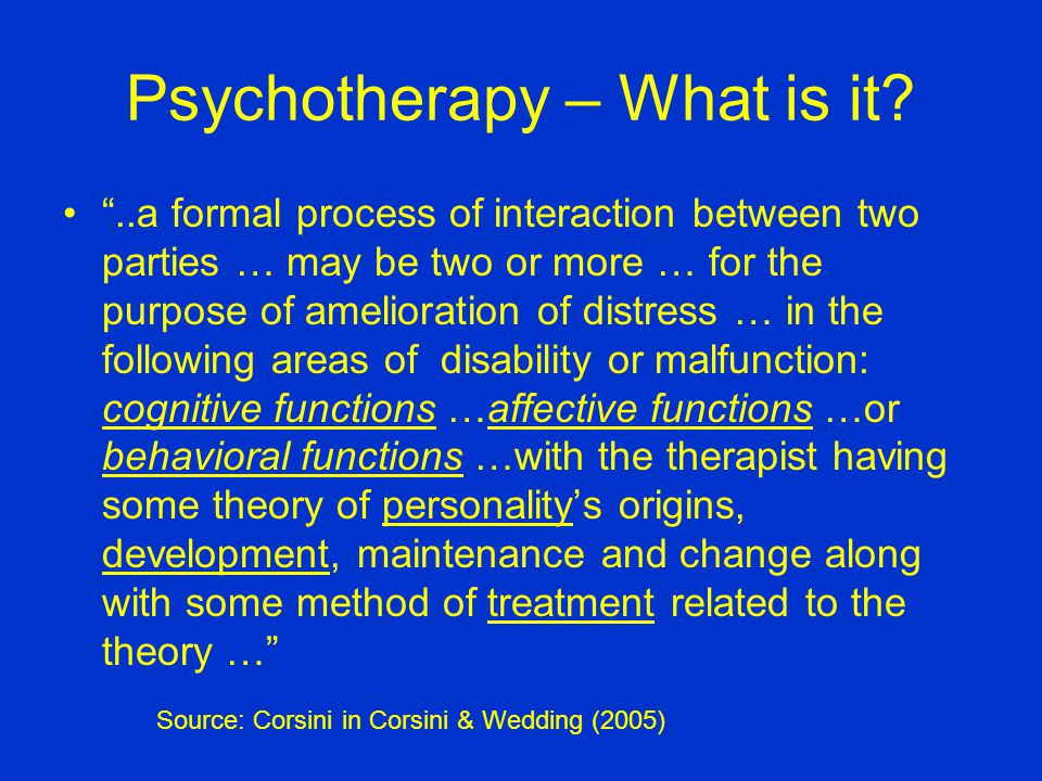 Psychotherapy – The Important Points Its -- interaction talk Involves cognition, affect, behavior Has a personality theory (philosophy) Has a theory of change Has a set of techniques