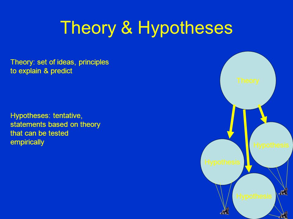 Theory & Hypotheses Theory: set of ideas, principles to explain & predict Hypotheses: tentative, statements based on theory that can be tested empirically Theory Hypothesis