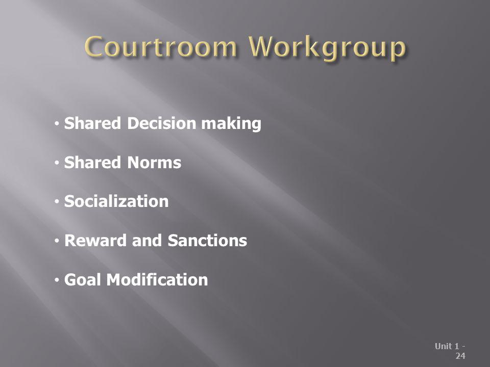 Unit 1 - 24 Shared Decision making Shared Norms Socialization Reward and Sanctions Goal Modification
