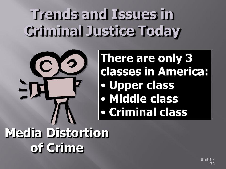 Unit 1 - 33 Trends and Issues in Criminal Justice Today Media Distortion of Crime Media Distortion of Crime There are only 3 classes in America: Upper