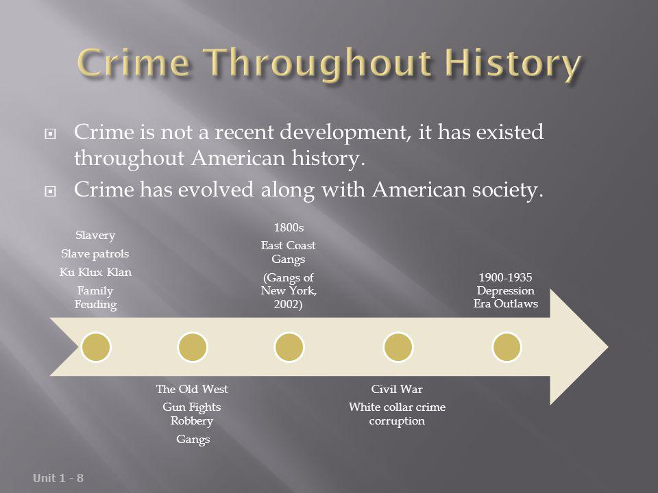 Crime is not a recent development, it has existed throughout American history. Crime has evolved along with American society. Unit 1 - 8 Slavery Slave