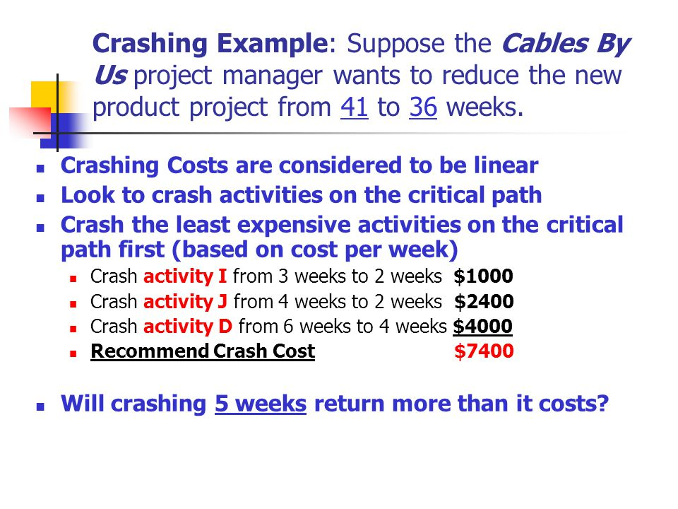 Crashing Example: Suppose the Cables By Us project manager wants to reduce the new product project from 41 to 36 weeks. Crashing Costs are considered