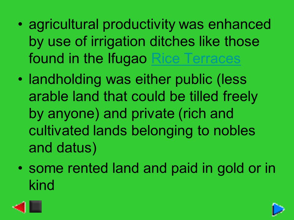 agricultural productivity was enhanced by use of irrigation ditches like those found in the Ifugao Rice TerracesRice Terraces landholding was either public (less arable land that could be tilled freely by anyone) and private (rich and cultivated lands belonging to nobles and datus) some rented land and paid in gold or in kind